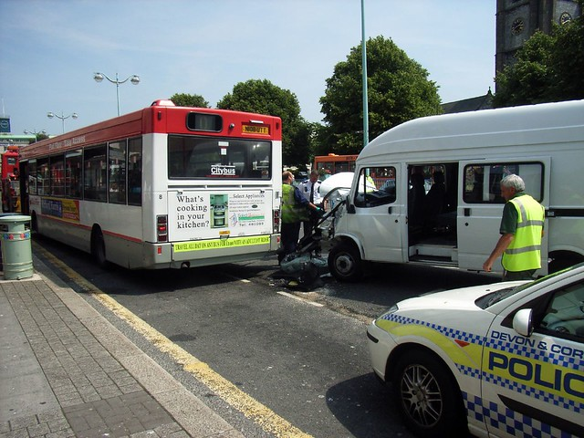 A Bus and van crash