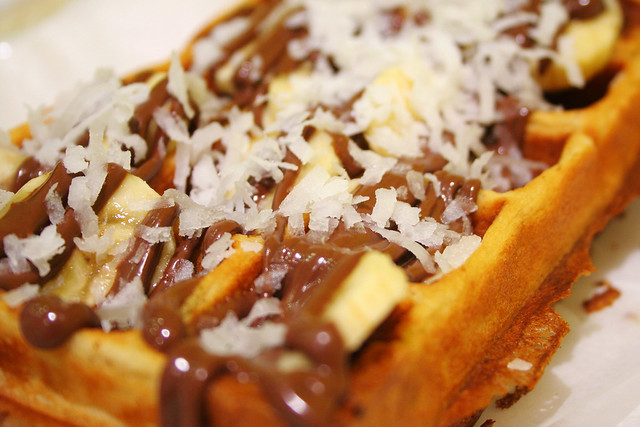 waffle with nutella, banana, and coconut flakes | Flickr - Photo ...