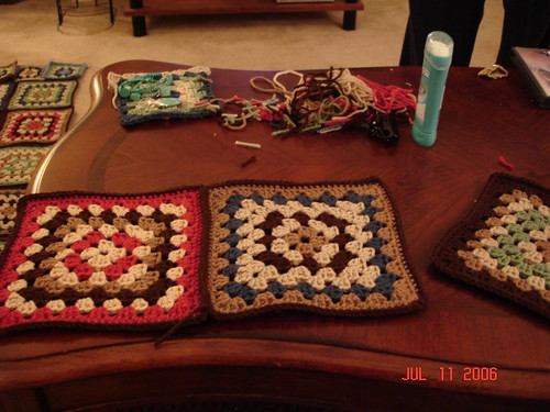 Granny squares on coffee table