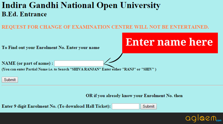 IGNOU B.Ed Hall Ticket (January) 2016