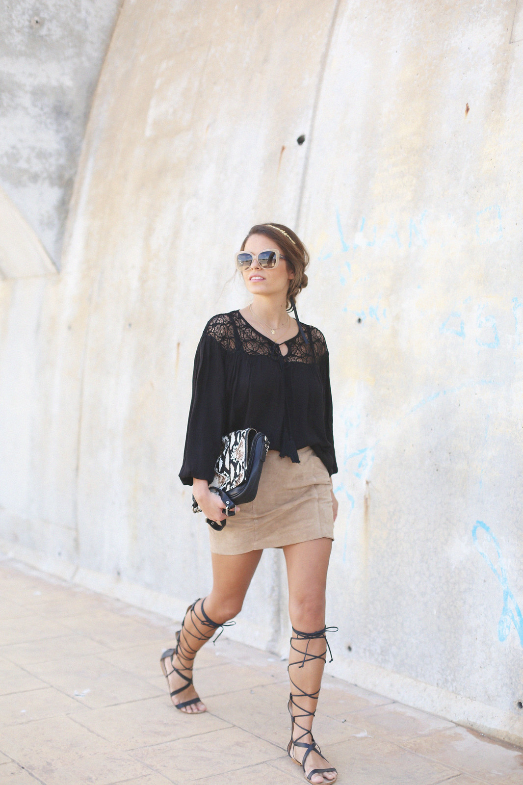 6.black boho top camel suede skirt gladiator sandals golden headband seams for a desire jessie chanes