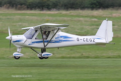 G-CEGZ - 2006 build Comco Ikarus C42 FB80, arriving on Runway 26R at Barton