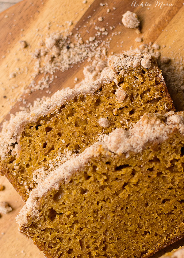 an amazing pumpkin great, moist, dense and delicious, topped with a cinnamon streusel. Everyone loves this bread