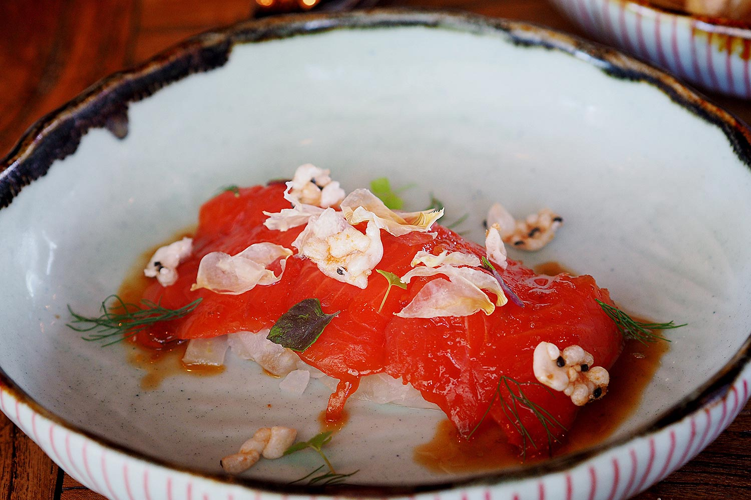 Rice Wine Cured Ocean Trout, Pickled Fennel, Ginger and Soy Sauce $16. The Rice Den, St Leonard's: Sydney Food Blog Review