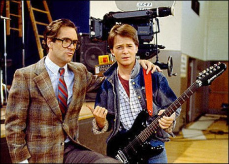 Back to the Future - backstage - Huey Lewis and Michael J. Fox