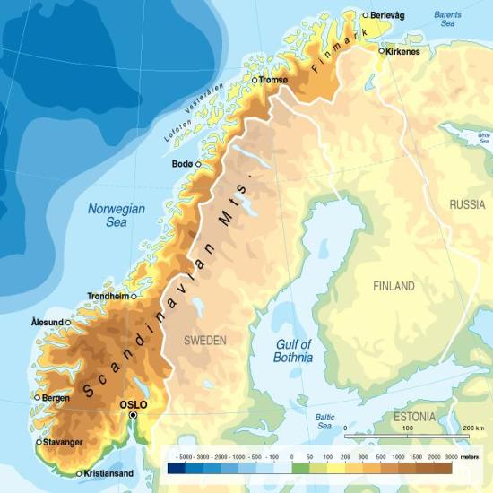 Topographic Map Of Norway.Norway Topography And Bathymetry Grid Arendal