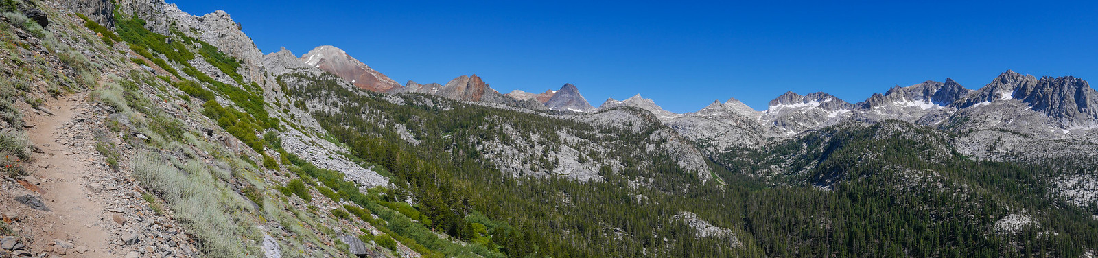 Red Slate Mountain and friends seen from the JMT climbing out of Tully Hole