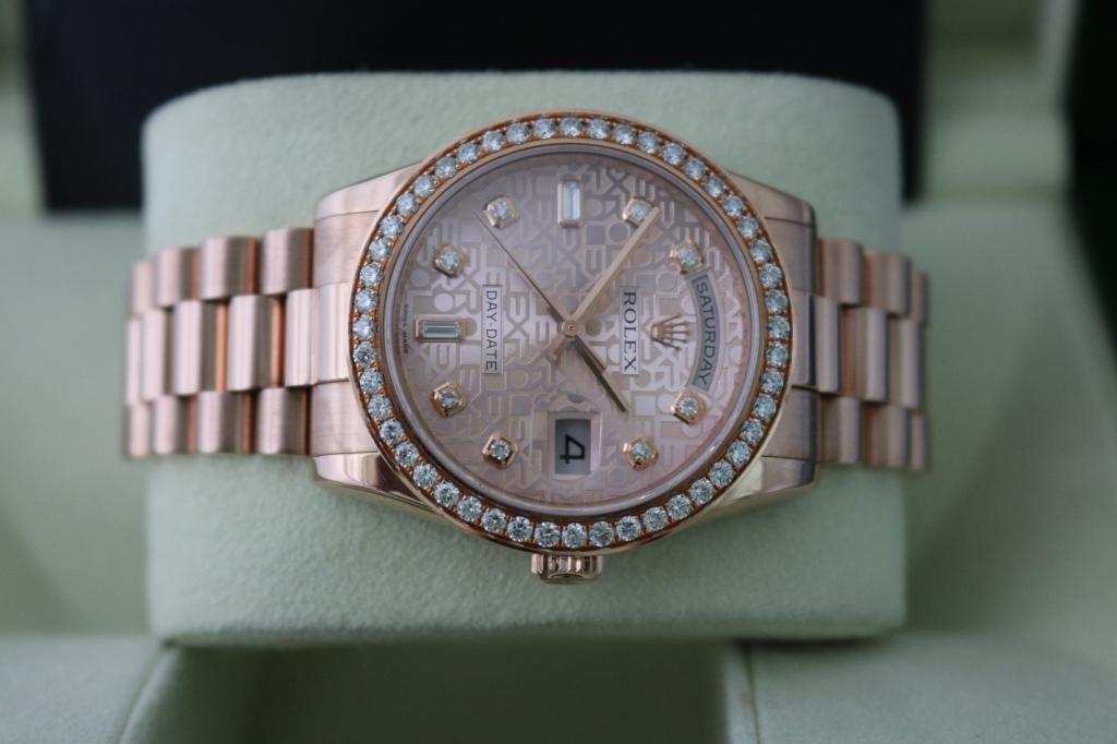 Bán đồng hồ rolex day date 6 số 118235 – vàng hồng 18k – mặt vi tính – size 36mm