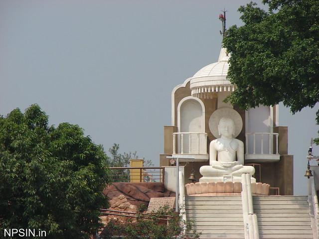 Bhagwan Adinath Mandir on an artificial hill in Teerthdham Mangalayatan