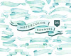 Watercolor Banners, ribbons Clipart: 25 Digital files. Light mint blue palette. Hand painted, vintage, clip art, separate png, diy elements by octopusartis