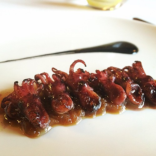 Smokey dinky octopus with an onion jam and their own ink at Asador Etxebarri #basque