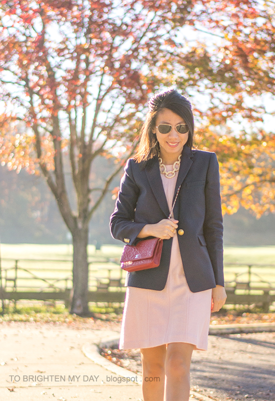 navy blazer, pink wool dress, red crossbody bag, gold statement chain necklace