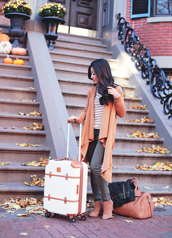 Fall casual travel outfit ankle boots cardigan