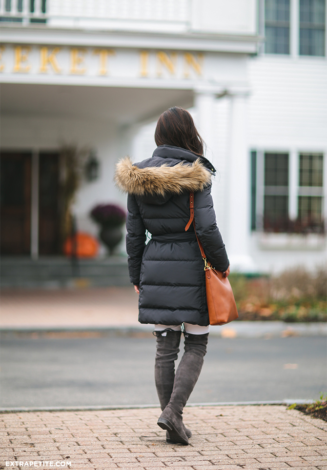 jcrew petite winter puffer coat faux fur