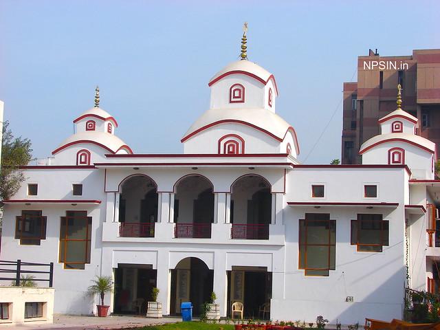 Full temple view including three shikhar