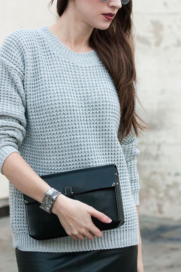 Roxanne Bergez Bracelet, Grey Waffle Knit Sweater