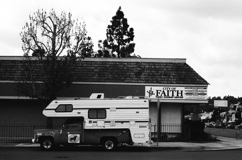 Camper and Church Sign, Rolando, San Diego