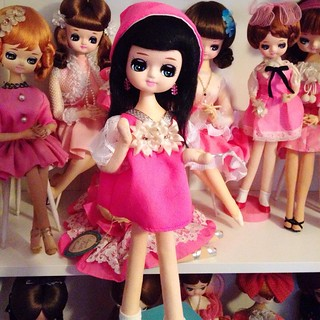 My fave of the 3. I don't think she fits on my pink shelf, whomp whomp. 💕💕💕 #kitsch #posedoll #dollcollection #mod #bradleydoll #dolls #pink