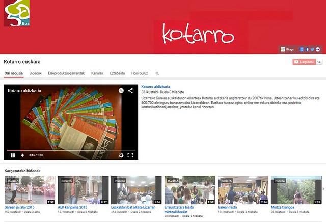 Kotarro youtube kontua