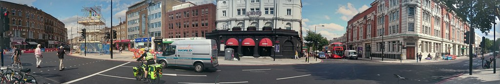 Panorama from Camden High Street via Crowndale to Eversholt St junctiom