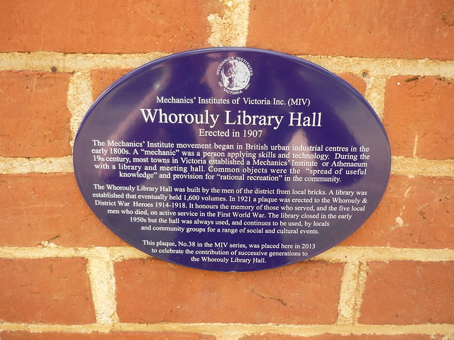 Photo of Whorouly Library Hall blue plaque