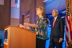 U.S. Senator for Alaska Lisa Murkowski, discusses the effects of Arctic climate change at the Welcoming Reception for the Global Leadership in the Arctic: Cooperation, Innovation, Engagement, and Resilience (GLACIER) Conference, at the Anchorage Museum, in Anchorage, Alaska, on August 30, 2015.  [State Department Photo / Public Domain]