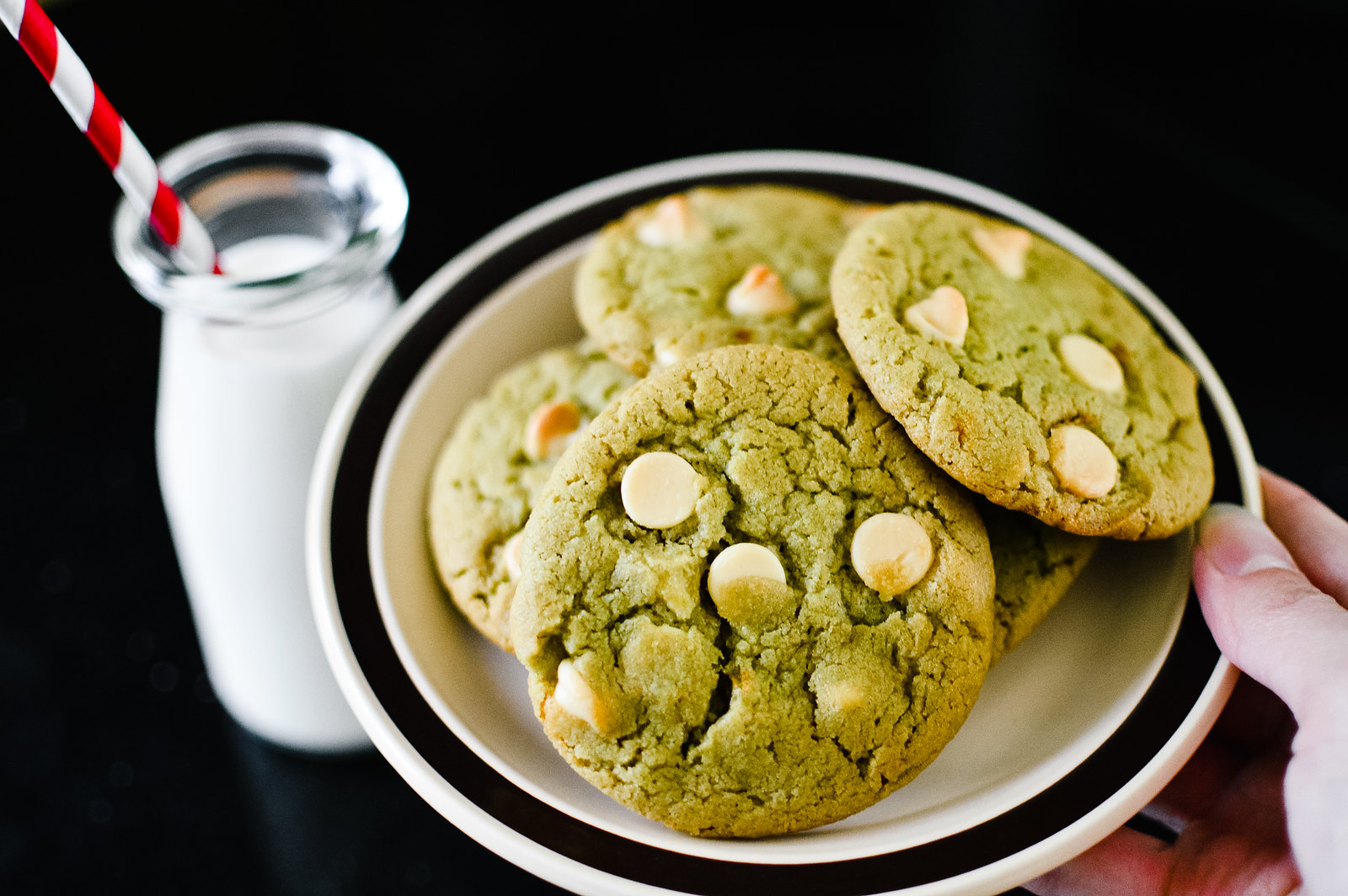 White Chocolate Chip Matcha Tahini Cookies