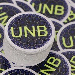 Custom UNB circle stickers cut with an added white border. The white border is a great addition as it now pops off ANY surface!!   Have our team help you with your project today!   Support@vinyldisorder.com - - www.vinyldisorder.com .  .  .  #design #cust