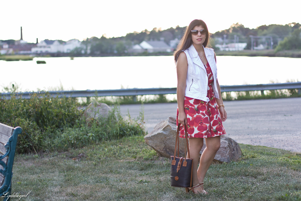poppy print dress, white denim vest, dooney burke tote-4.jpg