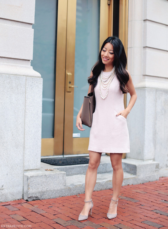 ann taylor pink wool dress pearls