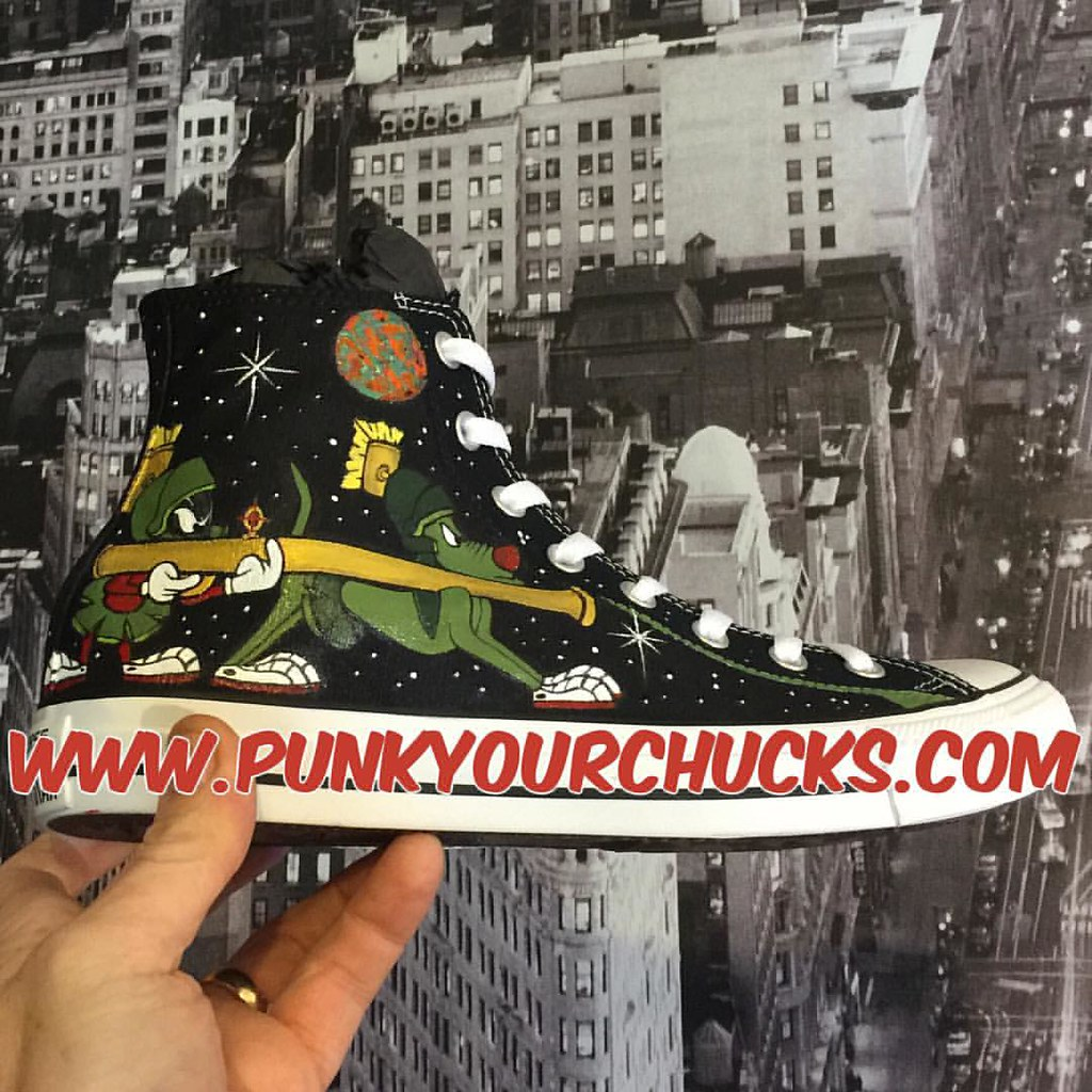 405315740879 Custom Marvin the Martian Chuck Taylors by MAG from Punk Your Chucks!