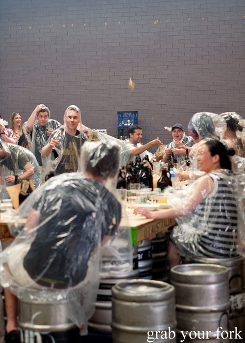 Food fight at the Feral Party by Pinbone at Young Henrys for Good Food Month 2015