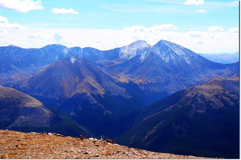Grays(L) & Torreys Peak(R) from the summit of Bard Peak
