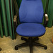 Blue swival chair high back