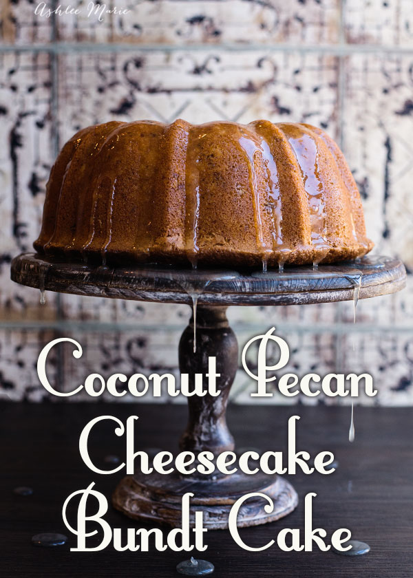 if you love coconut you will love this bundt cake, coconut in the cake, cheesecake filling and the glaze, throw in some pecans and you will need more than one slice