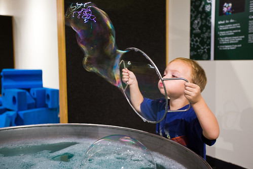 Blowing Bubbles at Sci-Tech Discovery Center