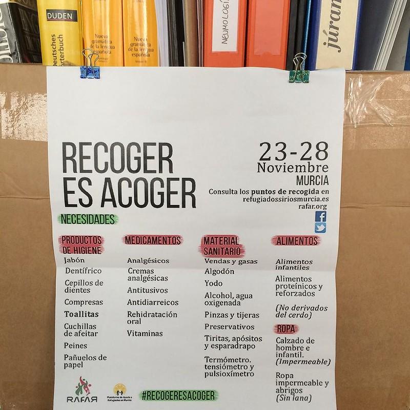 Somos punto de recogida #recogeresacoger: calle Bendame, 1, ático, #Murcia. Venid y traed cosicas de 1ª necesidad.