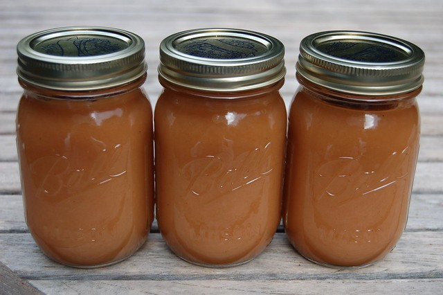 Three jars of homemade applesauce by Eve Fox, the Garden of Eating, copyright 2007