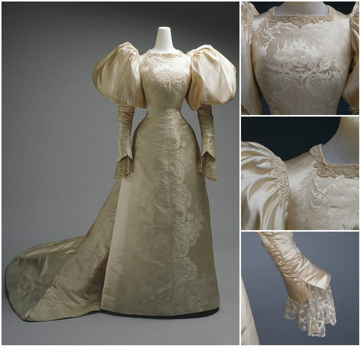 1896. Wedding Dress. Silk, pearl. metmuseum
