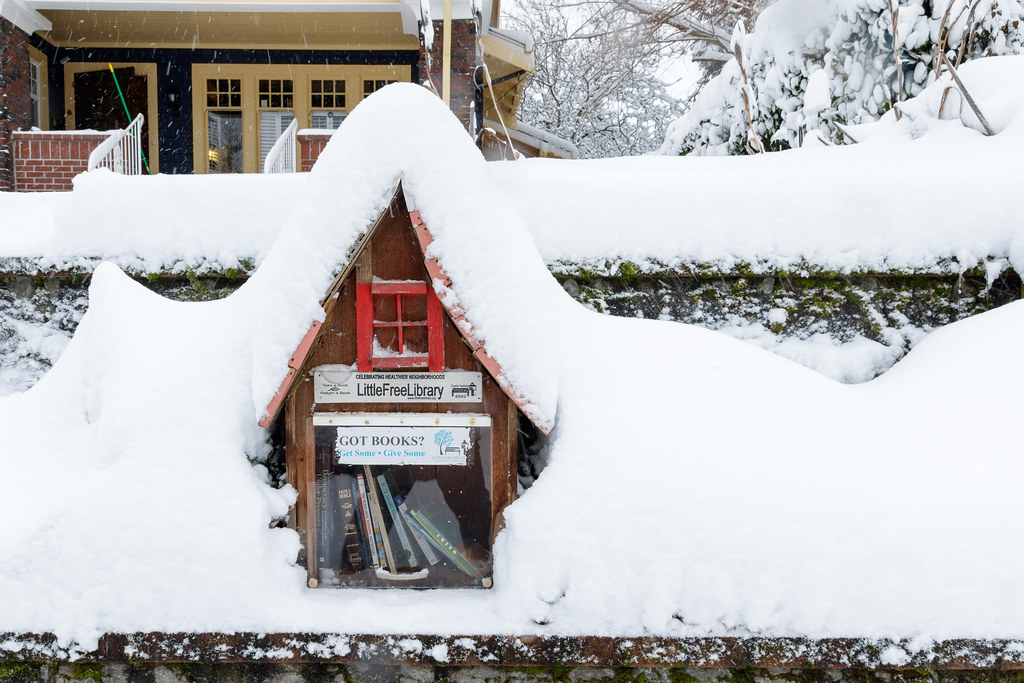 A lending library is buried under heavy snow