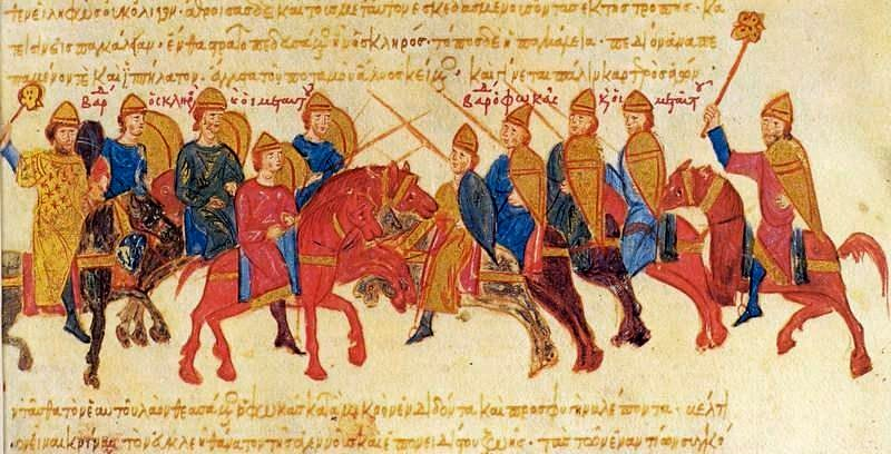 A battle between the armies of Skleros and Phokas, miniature from the Madrid Skylitzes.