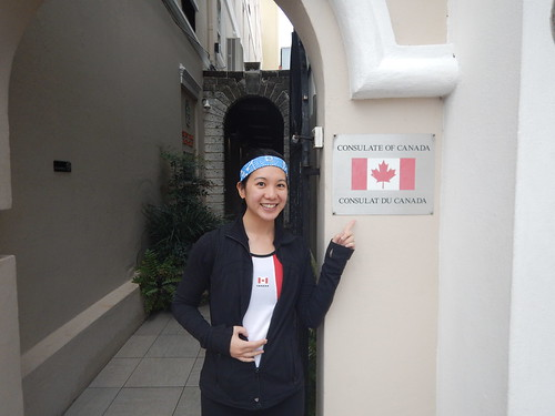 Mei outside the Consulate of Canada
