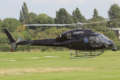 G-NPTV - 2007 build Eurocopter AS355 NP Ecureuil II, crossing Runway 08 on arrival at Barton for a re-fuel