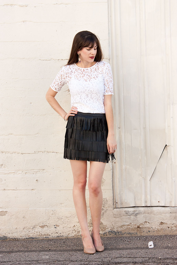 How to Wear a Fringe Skirt, Loft Lace Tee, Date Night Outfit