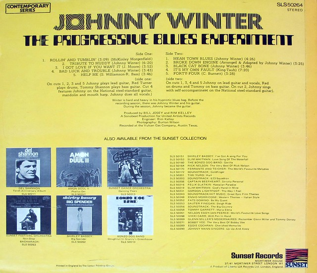 "JOHNNY WINTER PROGRESSIVE BLUES EXPERIMENT SUNSET LIBERTY 12"" LP VINYL"