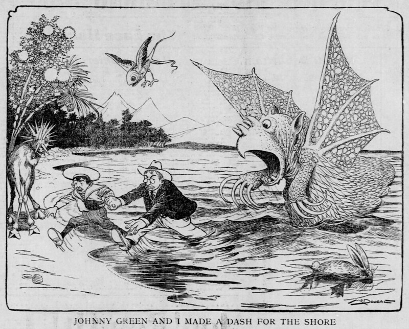 Walt McDougall - The Salt Lake herald., January 11, 1903, Johnny Green And I Made A Dash For The Shore