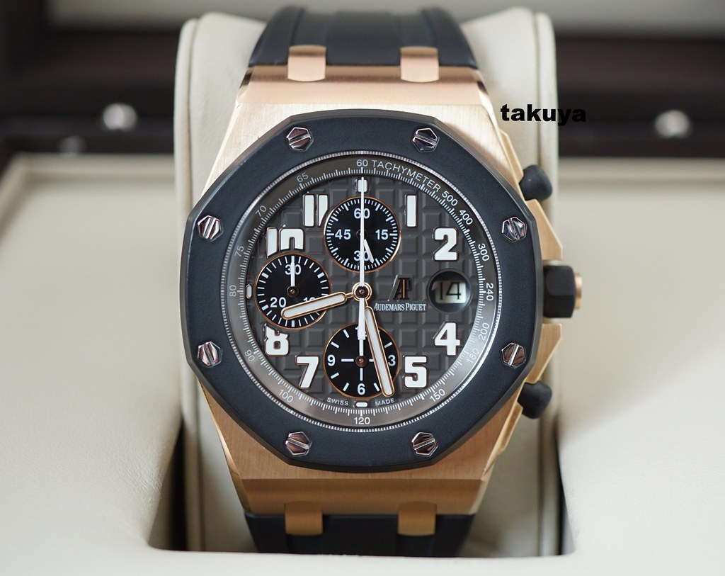 Us audemars piguet royal oak offshore rose gold rubber clad 42mm new dial serviced warranty for Royal oak offshore rose gold 42mm