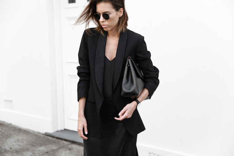 slip dress, street style, silk, black, Mansur Gavriel satchel bag, Dris Van Noten blazer, modern legacy, fashion blogger