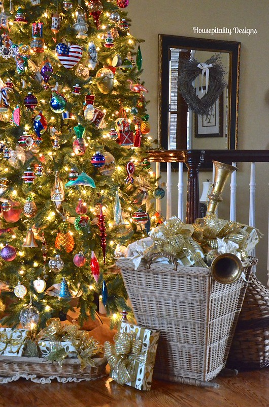 2015 Great Room Christmas Tree with Antique French Gathering Basket - Housepitality Designs