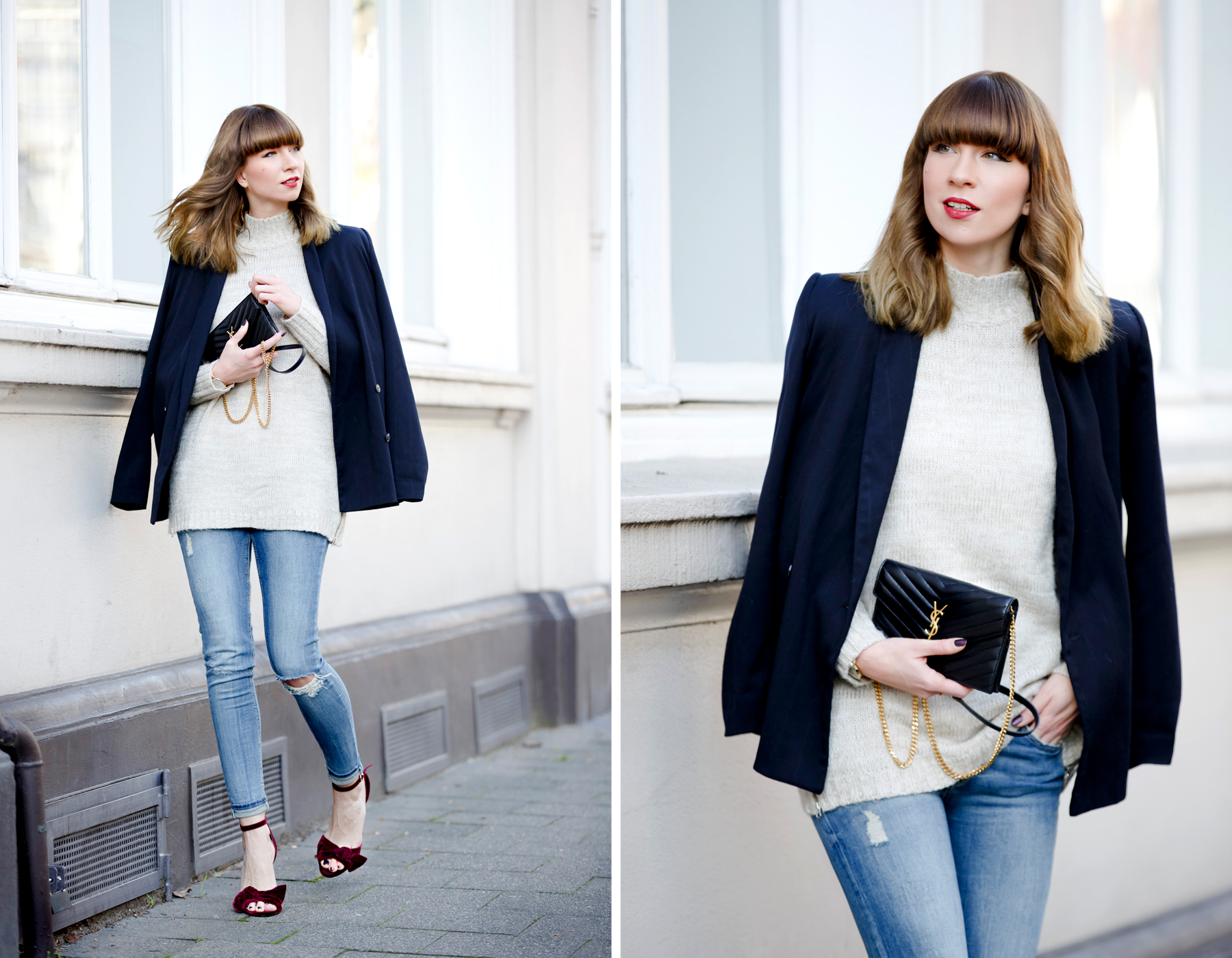 outfit office christmas party casual and velvet red ruby high heels topshop love cute blazer ysl saint laurent paris monogram bag rosefield watch ricarda schernus cats & dogs fashionblogger ootd outfitblogger blue jeans styleblogger dusseldorf nrw  2